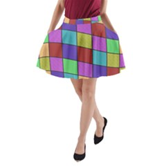 Colorful cubes  A-Line Pocket Skirt