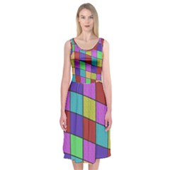 Colorful Cubes  Midi Sleeveless Dress