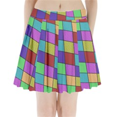 Colorful Cubes  Pleated Mini Mesh Skirt