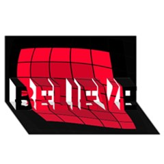 Red abstraction BELIEVE 3D Greeting Card (8x4)