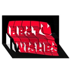 Red abstraction Best Wish 3D Greeting Card (8x4)
