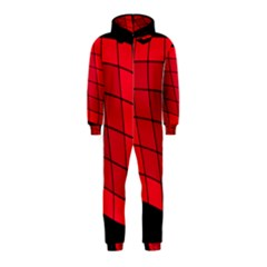 Red abstraction Hooded Jumpsuit (Kids)