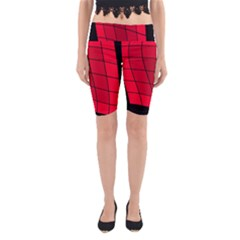 Red Abstraction Yoga Cropped Leggings