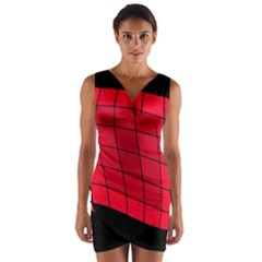 Red abstraction Wrap Front Bodycon Dress
