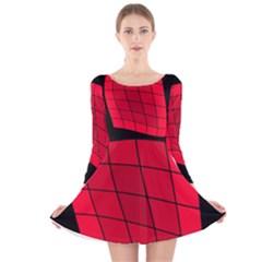 Red abstraction Long Sleeve Velvet Skater Dress