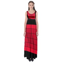 Red abstraction Empire Waist Maxi Dress