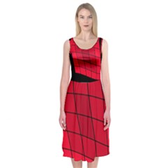 Red Abstraction Midi Sleeveless Dress