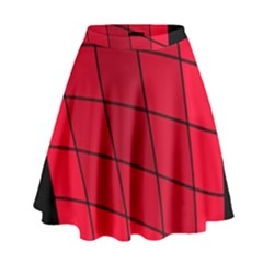 Red Abstraction High Waist Skirt
