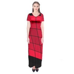 Red abstraction Short Sleeve Maxi Dress