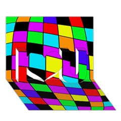 Colorful cubes  I Love You 3D Greeting Card (7x5)