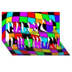 Colorful cubes  Happy Birthday 3D Greeting Card (8x4)