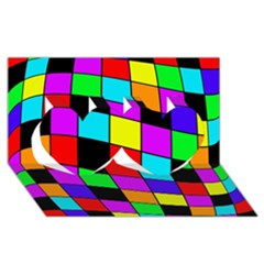 Colorful cubes  Twin Hearts 3D Greeting Card (8x4)