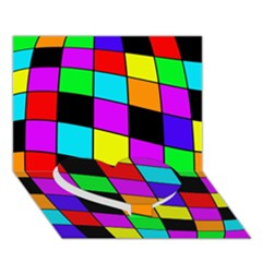 Colorful cubes  Heart Bottom 3D Greeting Card (7x5)