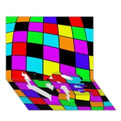 Colorful cubes  LOVE Bottom 3D Greeting Card (7x5)