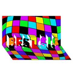 Colorful cubes  BEST SIS 3D Greeting Card (8x4)