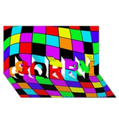 Colorful cubes  SORRY 3D Greeting Card (8x4)