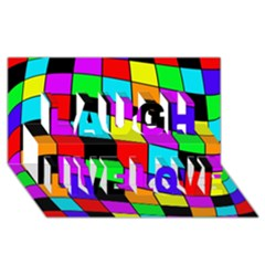 Colorful cubes  Laugh Live Love 3D Greeting Card (8x4)