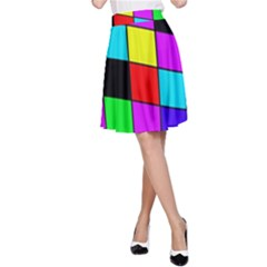 Colorful cubes  A-Line Skirt
