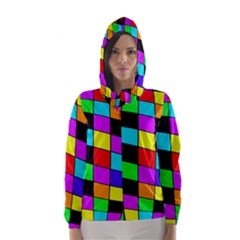 Colorful cubes  Hooded Wind Breaker (Women)