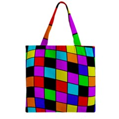 Colorful cubes  Zipper Grocery Tote Bag
