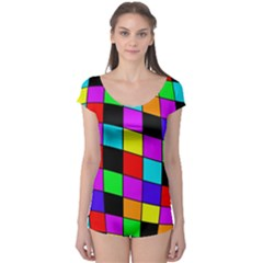 Colorful cubes  Boyleg Leotard