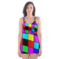 Colorful Cubes  Skater Dress Swimsuit