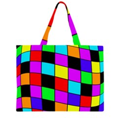 Colorful Cubes  Zipper Large Tote Bag