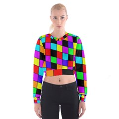 Colorful Cubes  Women s Cropped Sweatshirt