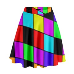 Colorful Cubes  High Waist Skirt