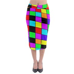 Colorful Cubes  Midi Pencil Skirt