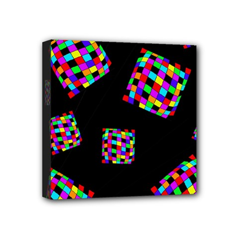 Flying  colorful cubes Mini Canvas 4  x 4