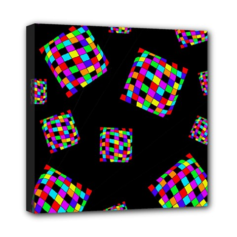 Flying  colorful cubes Mini Canvas 8  x 8