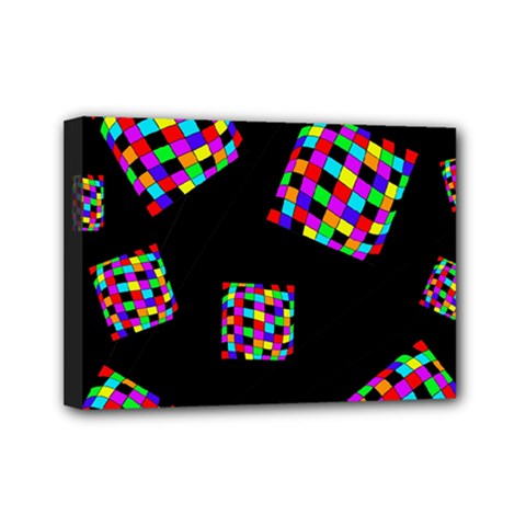 Flying  colorful cubes Mini Canvas 7  x 5
