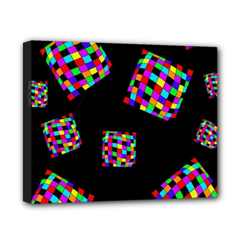 Flying  colorful cubes Canvas 10  x 8