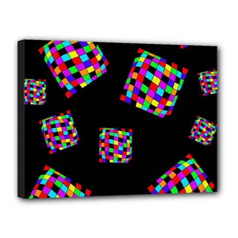 Flying  colorful cubes Canvas 16  x 12