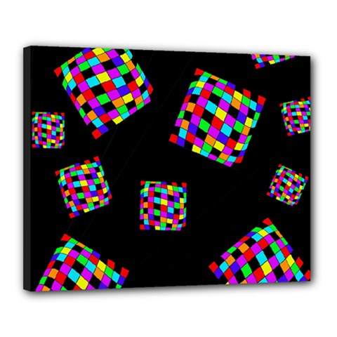 Flying  colorful cubes Canvas 20  x 16