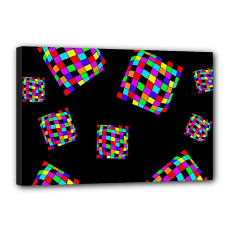Flying  colorful cubes Canvas 18  x 12