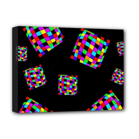 Flying  colorful cubes Deluxe Canvas 16  x 12
