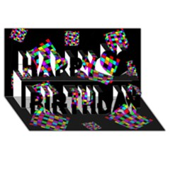 Flying  colorful cubes Happy Birthday 3D Greeting Card (8x4)