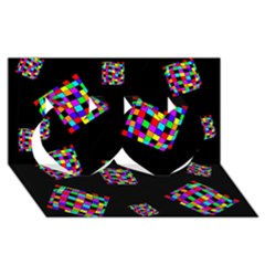 Flying  colorful cubes Twin Hearts 3D Greeting Card (8x4)