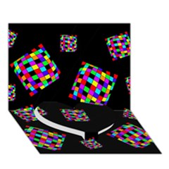 Flying  colorful cubes Heart Bottom 3D Greeting Card (7x5)