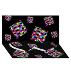 Flying  colorful cubes Twin Heart Bottom 3D Greeting Card (8x4)