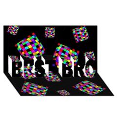 Flying  colorful cubes BEST BRO 3D Greeting Card (8x4)