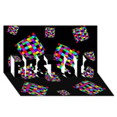 Flying  colorful cubes BEST SIS 3D Greeting Card (8x4)