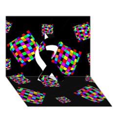 Flying  colorful cubes Ribbon 3D Greeting Card (7x5)