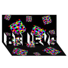 Flying  colorful cubes BELIEVE 3D Greeting Card (8x4)