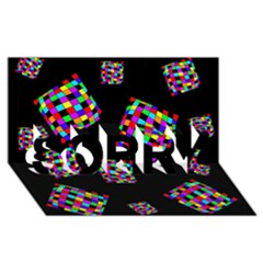 Flying  colorful cubes SORRY 3D Greeting Card (8x4)
