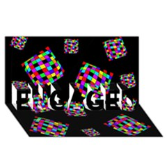 Flying  colorful cubes ENGAGED 3D Greeting Card (8x4)