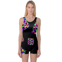 Flying  colorful cubes One Piece Boyleg Swimsuit