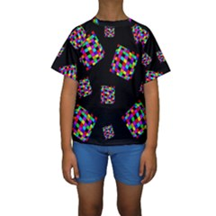 Flying  colorful cubes Kid s Short Sleeve Swimwear